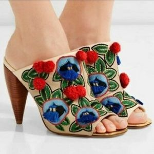 TORY BURCH ELLIE EMBROIDERED LEATHER POM HEELS